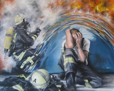 Acryl auf Leinwand 80x100cm- Posttraumatisches Stress-Syndrom , belastende Einsätze immer wieder Thema bei der Feuerwehr. 2013 war ich nun durch einen Brand in meinem Haus selber betroffen, ein lieber Nachbar- 81jährig und gehbehindert konnte in letzter Sekunde nur durch den beherzten und abenteuerlichen Einsatz eines Feuerwehrkameraden gerettet werden. Meine Erlebnisse habe ich in diesem Gemälde verarbeitet. Es wurde übrigens auch in der schweizer Feuerwehrzeitung 118 swissfire.ch Ausgabe 3/2014 zusammen mit einem Bericht über diese Ereignis veröffentlicht. Werk ist vorübergehend unverkäuflich